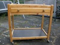 Pine & Black Kitchen Table Trolley on Castors