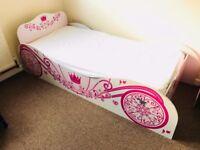 Princess Carriage Bed Frame Girls / Kids 3ft Single Disney, Pink
