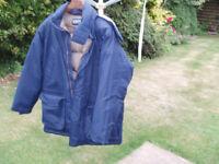 Padded goose down jacket, size large 42/44 , colour dark blue ,100% nylon shell VCG