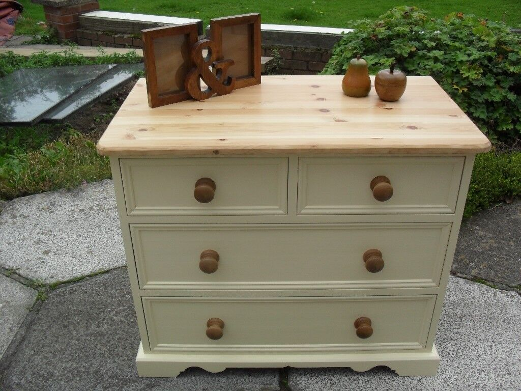 Shabby Chic Solid Pine Farmhouse Country Chest of Drawers In Farrow & Ball Cream No 67
