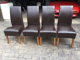 HIGH BACK DINING CHAIRS X 4. FOR RE-COVERING?