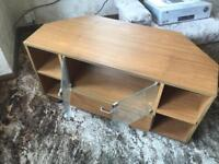 Three pieces of flat pack style furniture, TV unit, Stereo unit & Bedside style shelf unit.
