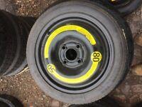 """14"""" 4 stud Vw polo / lupo/ Audi A2/ Seat/ Skoda space saver wheel. ET42 £10"""