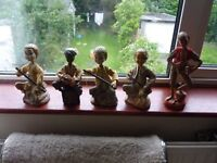 ollection of old collectible figurines, asian? Oriental? Unusual, not sure what made of lot