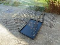 "36"" dog/pet crate carrier black metal tray vgc Ellie-Bo. 2-door."