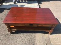 Heavy oak wood coffee table £45