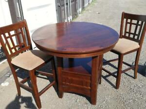 Oakville Solid Wood Bistro Set  High Round Dining Table and 2 chairs  Good condition Eating Kitchen Sunroom Storage