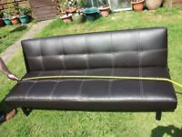 SOFA BED 2 SEATER IN BROWN LEATHER EFFECT