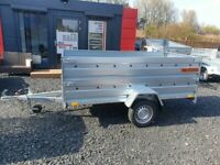 BRAND NEW 8.7x4.2 SINGLE AXLE DOUBLE BROADSIDE TRAILER WITH MANUAL TIPPING FEATURE 750KG