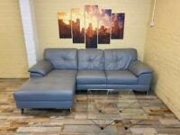 Cool Grey Leather Corner Sofa