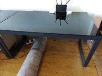 Black Glass Dining Table - Metal Legs