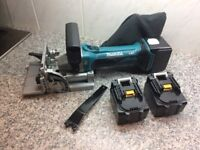Makita biscuit jointer and 3 batteries in as new condition. Bargain.
