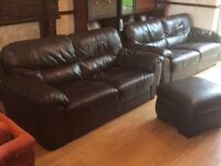 Italian leather brown 3&2 suite in perfect condition