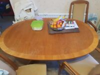 table oval 190x100 cm Can be extended + 4 chairs