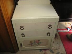 VINTAGE PAINTED CHEST OF DRAWERS OVER CABINET. ORNATE. VIEWING / DELIVERY AVAILABLE