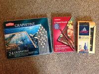 BUNDLE: Coloured soluble graphite pencils, pastel pencils, conte crayons