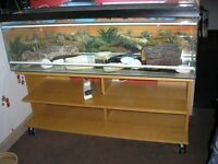 4 FOOT LONG VIVARIUM AND STAND WITH LIGHT, HEAT MAT AND EXTRAS