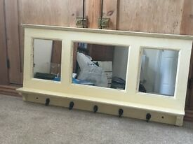 Cloakroom antique coat rack and mirror