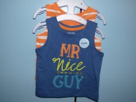 "Baby Boys F&F ""Mr Nice Guy"" Summer Vest Top Set Size Up to 3 Months NEW"