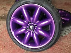 "Mini Cooper s 17"" alloys in metallic purple"