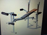 V FIT FOLDING WEIGHT TRAINING BENCH + WEIGHTS AND BARS