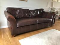 Marks and Spencer brown leather sofa and matching chair