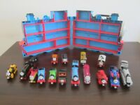 THOMAS THE TANK 3D CARRY CASE FULL OF VARIOUS THOMAS TANK DIECAST TRAINS IN GREAT CONDITION
