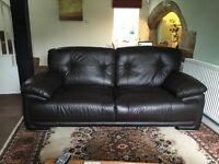 Chocolate 3-seater leather sofa (buyer to collect)