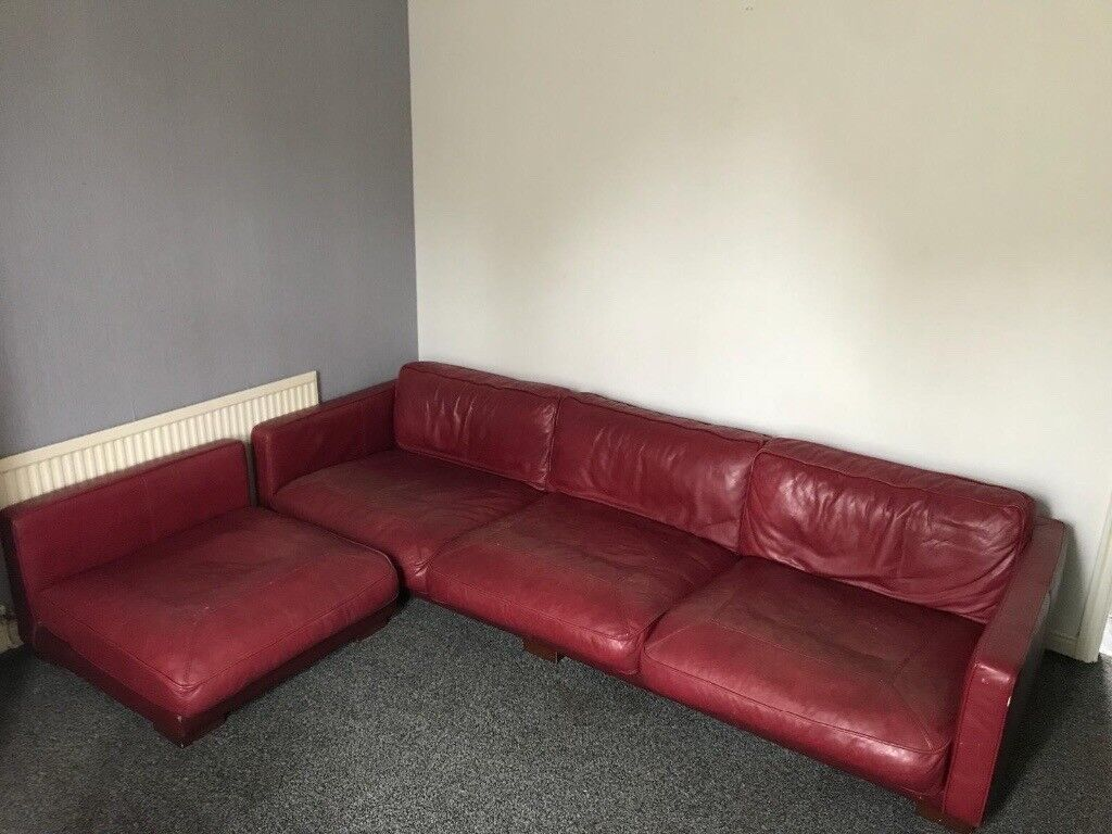 Dfs Large Deep Red All Leather California Sofa