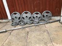 TriGrip Olympic Weights Set with Barbell. •Can Deliver*•
