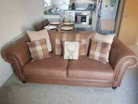 Beautiful Tartan, brown sofa and chair