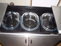 STAINLESS STEEL HOSTESS TROLLEY,3 DISHES WARMING CUPBOARD.