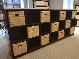 Brown Long Storage Unit Including 11 Baskets