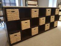 Brown Long Storage Unit Including 11 Baskets