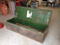 military chest, metal, unrestored