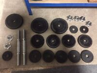 York Cast iron weights plus dumbells