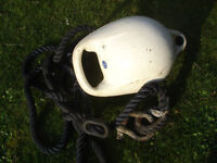 PICK-UP BUOY, SHACKLE , RUBBER SNUBBER AND MOORING LINE.