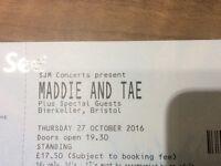 2 Tickets for Maddie & Tae in Bristol next Thursday