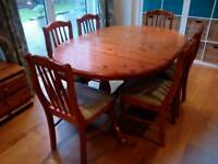 Corndell honey pine extending table and 6 chairs plus matching display cabinet