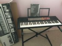 Yamaha keyboard, stand, box and manual