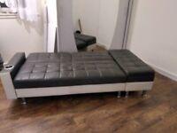 Grey white faux leather sofa