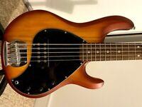 Musicman Sterling SUB Ray 5 Bass Guitar , Honey Burst Satin.