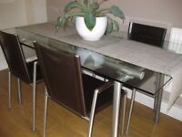 Dining table & 4 leather chairs, Barker & Stonehouse glass table