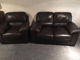 2 piece real leather sofa suite