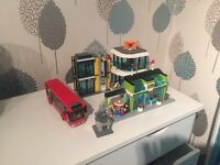 Lego City town square with bus