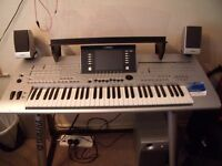 YAMAHA TYROS 4 DIGITAL WORKSTATION COMPLETE WITH STAND AND SPEAKERS ALSO MUSIC REST