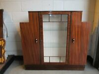 MAHOGANY ART DECO GLASS FRONTED DISPLAY CABINET DRINKS CABINET WITH KEY FREE DELIVERY