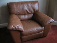 Brown Leather 2 Seater Sofa & Arm Chair