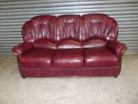 Burgundy Italian Leather 3-seater Sofa (Suite)
