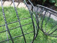 Metal flower manger/planter & matching basket with twist detail